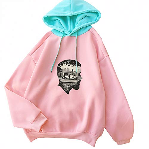 ZJSWCP Sweat-Shirt Automne Nouveau Personnage De Caractère Imprimer Kawaii Sweats Sudadera Mujer Casual Harajuku Drôle Sort Couleur Warm Fleece Hoodies Femmes,L
