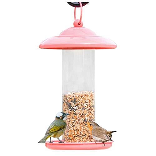 Comedor de Aves Silvestres Que cuelga con Techo de Metal Colgante para jardín Yarda decoración al Aire Libre, alimentador de Aves de Metal, Bandeja para Colgar por Aves, Rosa