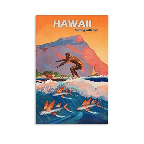 SDFSDF Hawaii Surf Retro-Reise-Poster, dekoratives Gemälde, Leinwand, Wanddekoration, Sammlerstück Vintage-Poster, 50 x 75 cm