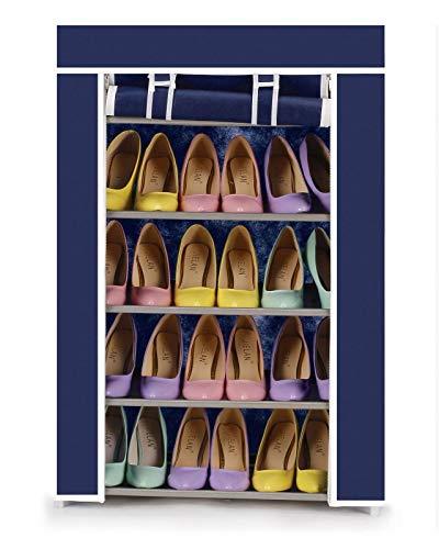 Vinsani - Zapatero de lona con 5 niveles para fiestas, gimnasio, trabajo, zapatos y calzado, color azul