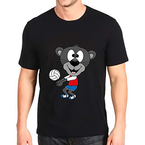 Nueva Camiseta o-Cuello Estampado Pantera Voleibol Deportes Animal Divertido Manga Corta algodón Top para Hombre por Encargo Black XXXL