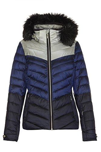 killtec Skijacke Damen Brinley - Winterjacke Damen - Damenjacke sportlich mit Skipasstasche - warme Jacke für den Winter - wasserdicht, blau, 40