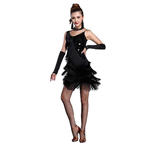 Xinvivion Latein Tanz Kleid für Damen - Walzer Ballsaal Tanzen Praxis Kostüm Paillette Quaste Tanzbekleidung , Black - XL/ EU: M