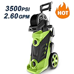 【High Pressure Washer】 Compact, upright design with axle mounting wheel for easy rolling movement. Pistol grip with trigger spray bar for efficient pressure cleaning. 【Powerful Motor】Incredible professional clean power output of up to 2.50GPM and 335...