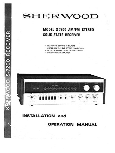 Sherwood S-7200 Receiver Owners Instruction Manual Reprint [Plastic Comb]