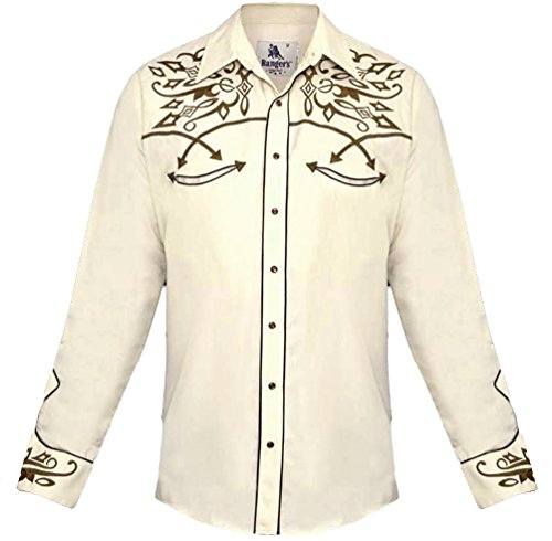 Modestone Men's Embroidered Long Sleeved Fitted Western Camicia Cowboy Filigree Beige S