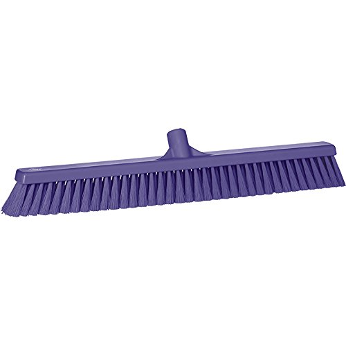"Vikan 31998 Fine Sweep Floor Broom Head, Polypropylene Block, 23-1/2"" Polyester Bristle, Purple"