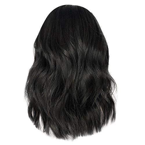 Femme Perruque Afro Cheveux Naturels Court Curly Sexy Mode Chic Noir Postiches BoucléS Lace Wig (Noir)