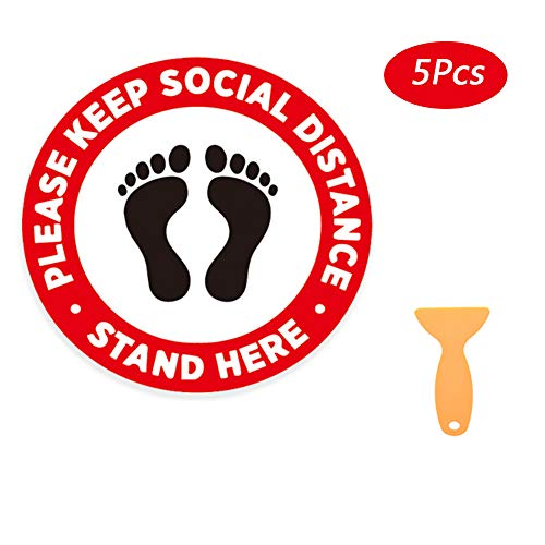 Señal de distanciamiento social, medidas de 30,5 cm, Cornavirus Social Distancing Floor pegatinas Guidance Covid 19 para tienda oficina paquete de 5