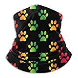 Linger In Bufanda para Cuello, Paw Print Color Rainbow Reversible Ear Headband Cover, para Unisex