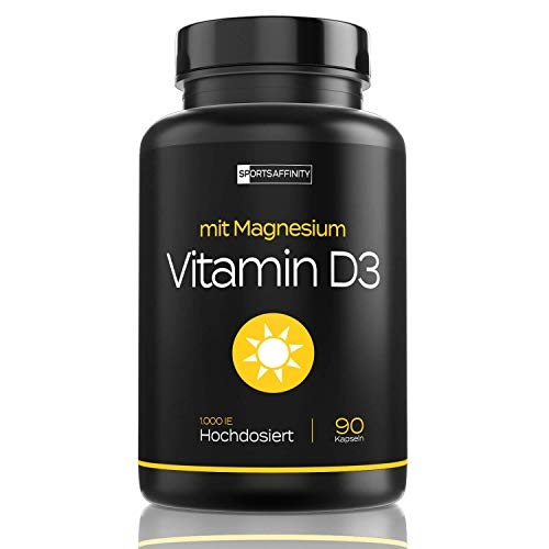 Vitamin D Sonnenvitamin - Mit Magnesium - 1000 IE Vitamin D3 pro Tablette - Cholecalciferol - 90 Kapseln
