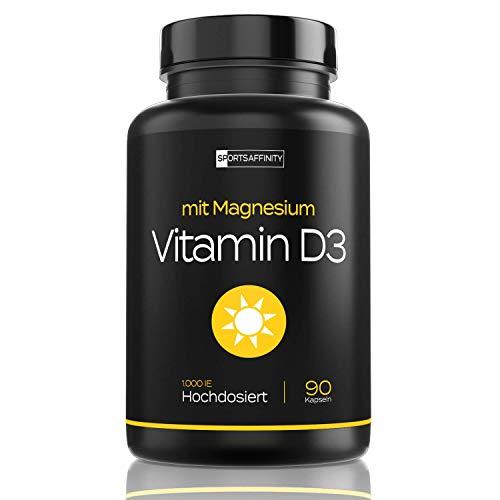 Vitamin D3 [Mit Magnesium] » Vitamin D 3 Hochdosiert 1000 ie Tabletten/Pillen « Sonnenvitamin/Vitamine - Cholecalciferol - in 90 Kapseln (vegan)