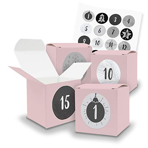 DIY itenga Adventskalender Set zum Selberbefüllen für Frauen ROSA 24x Würfel 6,5cm x6,5cm + Zahlensticker Z18
