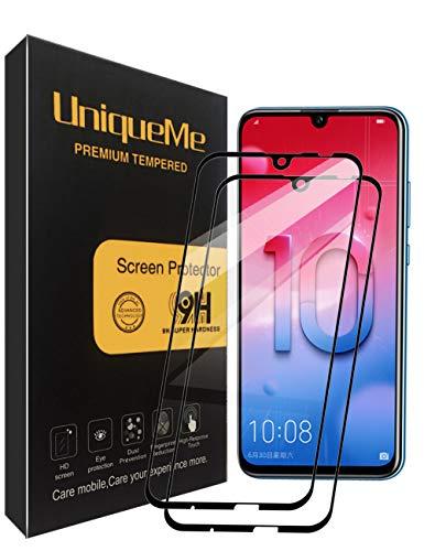 UniqueMe [2 Pack] Protector de Pantalla para Huawei P Smart 2019 / Honor 10 Lite/Honor 20 Lite, 9H Dureza Vidrio Templado [Garantía de por Vida]- Negro