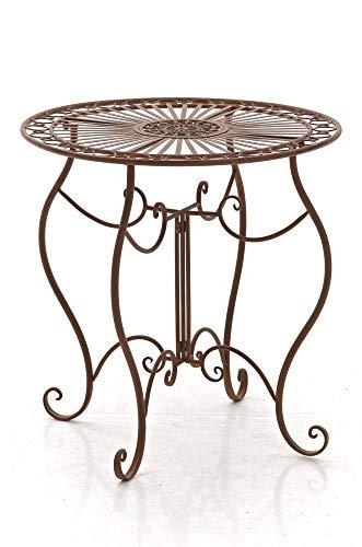 CLP Tavolino Giardino Indra I Tavolino caffè in Ferro Lavorato A Mano I Tavolino Tondo Balcone Rustico Shabby, Colore:Bianco Crema