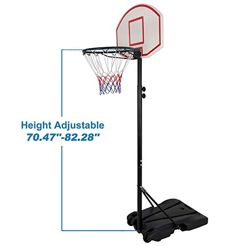 Smartxchoices Portable Height-Adjustable Basketball Hoop Stand Goal System Steel Pole with Backboard and Wheels for Kids Teenagers Youth Indoor Outdoor