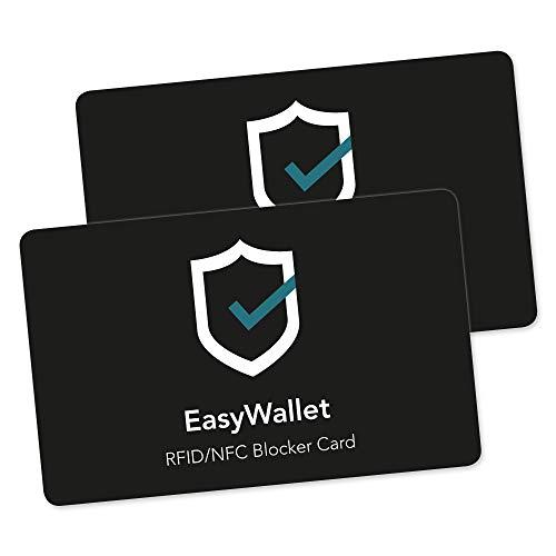 EasyWallet – RFID Blocker Karte – RFID Blocker Extra Dünn – Schutz für deinen RFID Geldbeutel und EC Karten – Schutz vor Datendiebstahl für Visa Karte (2 Stück)