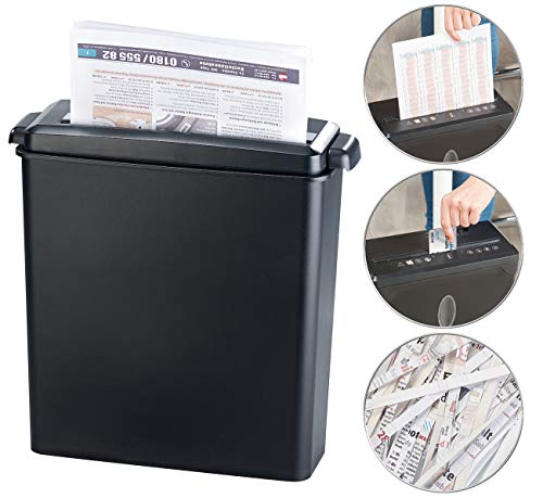 General Office Papiershredder: Aktenvernichter für 6 Blatt A4 und Karten, Streifenschnitt, 8 Liter (Aktenschredder)