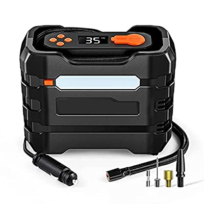 IN&OUT LITE Car Tire Inflator Air Compressor 12V DC, Portable Air Pump Auto Shut Off, LED Lights for Car Tires, Motorcycles, Bikes and Inflatables