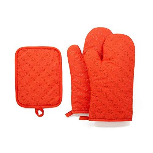 Juego de guantes para horno y agarraderas para cocina Chef Pomodoro, paquete de 3, con silicona, guantes para cocinar y no quemarse,...