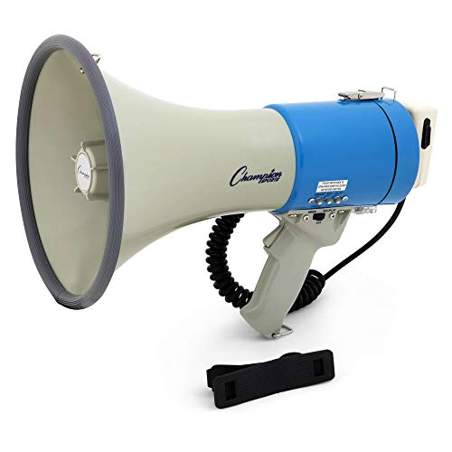 Champion Sports Megaphone with Siren, Handheld Microphone, 1000 Yard Range - Powerful Bullhorn Loudspeaker with Adjustable Volume Control for Sport Events, Concerts, Crowd Control