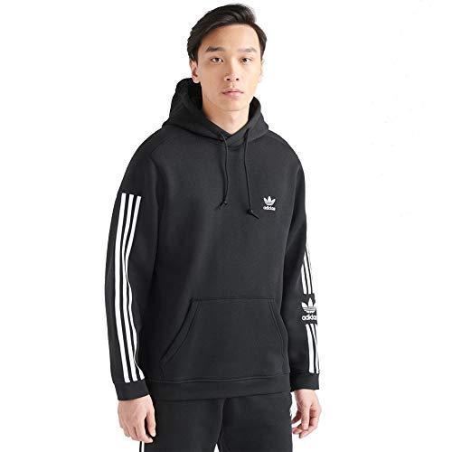 adidas Men's Essentials 3-Stripes Hoodie (Black - White/Black, X-Small)