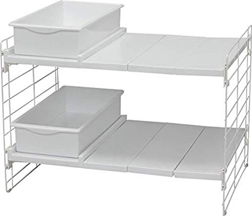 Iris Ohyama Estante modular y extensible de 45-70 cm para armario debajo del fregadero, 2 niveles con 2 cajones, Telescopik Rack Tray UMD-2V, Acero y polipropileno, L 45/70 x l 39.5 x A 43.5 cm