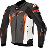 Alpinestars Chaqueta moto Missile Leather Jacket - Tech-air Compatible BlackWhite Red Fluo Air, Negro/Blanco/Rojo, 50 (3100118-1230-50)