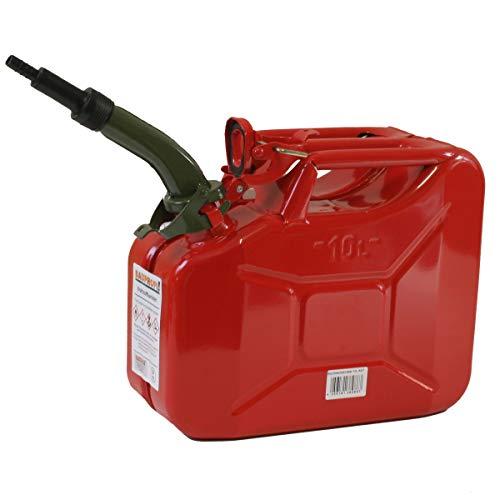 Stahlblechkanister rot 10 Liter + Auslaufrohr starr Benzinkanister Kanister Set