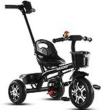 Triciclo de bebé Cochecito para niños pequeños, Triciclo para niños, Bicicleta para niños de 1-3-2-6 años, Cochecito de bebé, Estructura de acero con alto contenido de carbono  Rueda de espuma de abs
