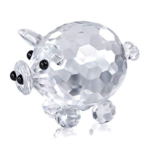 H&D HYALINE & DORA Crystal Pig Figurine Collection Cut Glass Animal Statue Ornament for Table
