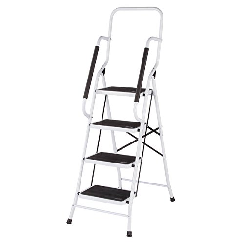 LivingSURE Folding 4-Step Safety Ladder – Padded Side Handrails –...