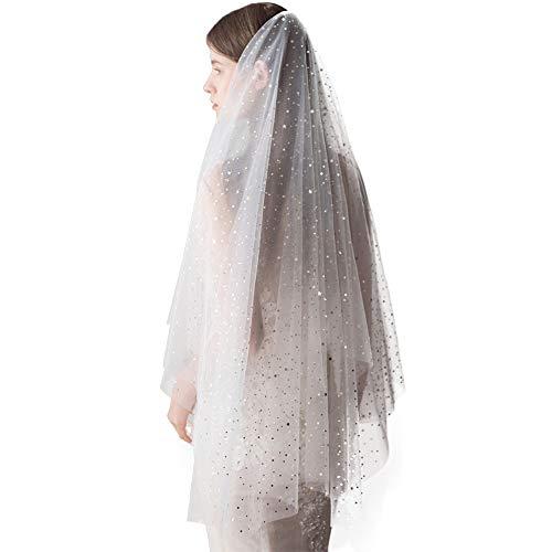 White Veil For Women With Lace Edge Bridal Wedding Veil Bling 1 Tier 2 Tier Elegant