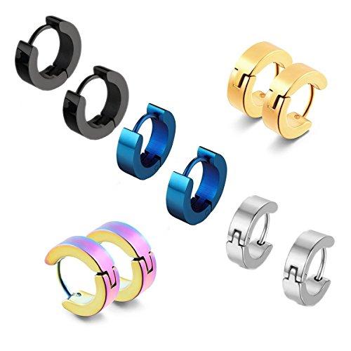 5 coppie acciaio inossidabile Huggie orecchini a cerchio in acciaio inox a cerniera argento borchie nero di Huggie ipoallergenici Stud uomo Orecchini