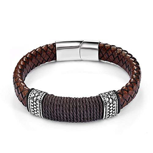 Jewellery Bracelets Bangle For Womens Black Brown Leather Bracelet For Men Punk Braided Rope Steel Magnetic Button Male Bracelet Jewelry Birthday Gift-Brown_22Cm