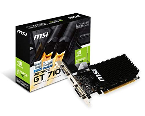 MSI NVIDIA GEFORCE GT 710 2GD3H LP Graphics Card '2GB DDR3, 954MHz, Low Profile, Low Consumption, VGA, DVI-D, HDMI, HTPC, Silent Passive Fanless Cooling System'