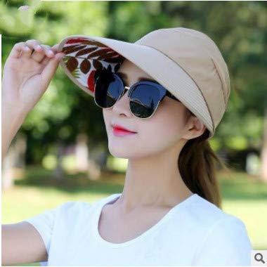 Visera Pesca Sombrero de Pescador Sombrero de Playa Pescador Gorra de protección UV Negro Casual para Mujer Sombrero de Verano Cola de Caballo Sombrero de ala Ancha Sombrero para el Sol-a4