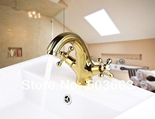 Nieuwe dubbele handgrepen gouden wastafel badkamer plafond gemonteerd eengat keramische kraan mengkraan kraan kraan kraan tippen