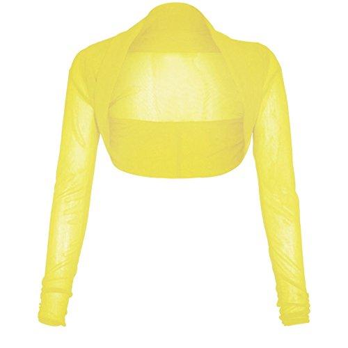 The Celebrity Fashion, Chiffon-Bolero für Damen, bauchfrei, mit Strickjacken-Oberteil Gr. 42, gelb