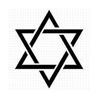 六芒星2 シルエット 星座ステッカー (白:ホワイト, 小:縦横 4cm×4cm = 4枚セット)