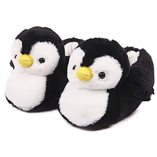 Womens Cute Penguin Animal Slippers Novelty Cozy Fuzzy Slippers Soft Plush Winter Warm House Shoes (Black, Numeric_8_Point_5)