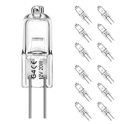 Jaenmsa 12 Stück G4 Halogen Stiftsockellampe 12V 20W Dimmbar Warmweiß - 2800K[Energieklasse C]