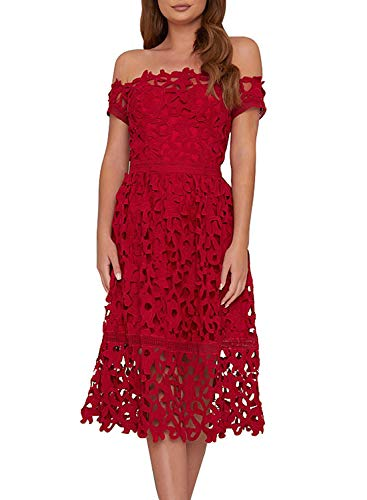 AlvaQ Summer Sexy Off Shoulder Lace Midi Dresses for Women Party Wedding Cocktail Evening Plus Size X-Large Red