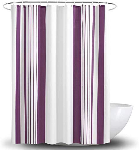 Gordijn Douchegordijn Waterproof Schimmelbestendig Polyester Shower Curtain Met Haken witte kleur Stroken Ontwerp paarse kleur douche Liner Badkamer (Grootte: 180 * 200) (Size : 180 * 200cm)