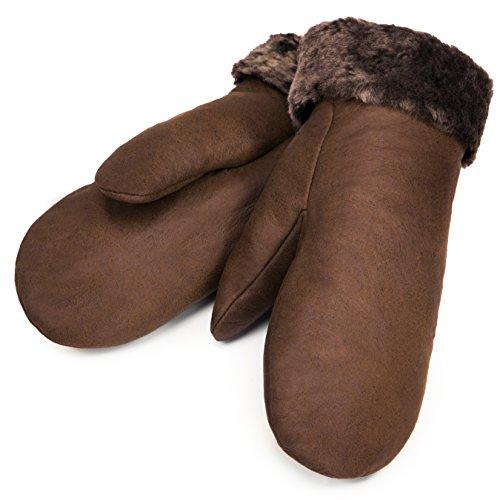 Lammfell Fäustlinge von CHRIST – warme, Lange Unisex Fausthandschuhe aus echtem Fell, Winter-Handschuhe für Damen und Herren in Hellbraun, Größe 5
