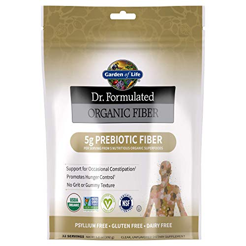 Garden of Life Dr. Formulated Organic Prebiotic Superfood Fiber Supplement for Constipation Relief and Hunger Control, Vegan, Unflavored, 6.8oz (192g) Powder *Packaging May Vary*