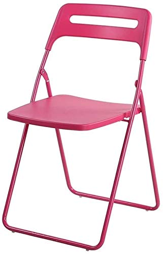 Tragbarer Stuhl zu Hause einfach und modern Kunststoff Klappstuhl pulverbeschichtet Metallrahmen, Multi-Farbe Optional (Farbe: Tiffany blau), Farbe: Rot Einfacher Computer Stuhl mit klappbarer Rücken
