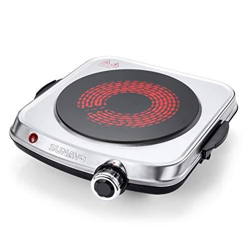 SUNAVO Electric Infrared Burner, 1200W Ceramic Glass Hot Plate, 6 Power Levels Stainless Steel Single Burner for Kitchen Camping RV and More Silver