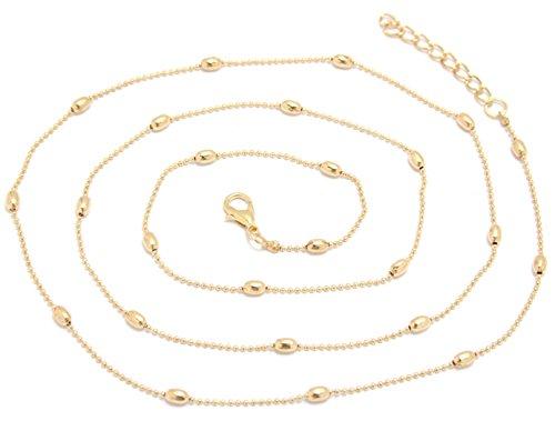 2LIVEfor Körperkette mit Kugeln Perlen Tropfenform Bauchkette Hüftkette Sexy Fashion Gold Silber Belly Bauchkette Bikini Beach Harness Halskette Körperkette Taille Ketten Tropfen (Gold)