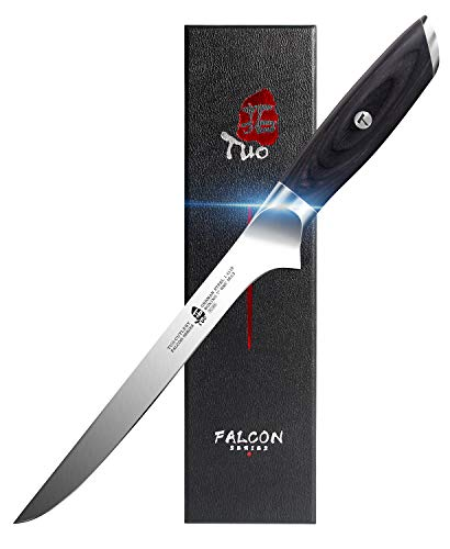 TUO Boning Knife 7 inch - Fillet Knife Flexible Kitchen Knife German HC Steel with Pakkawood Handle - FALCON SERIES with Gift Box